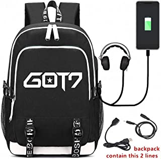 USB Bharging Backpack, GOT7 Canvas Shoulder Daypack, Teenager Gifts, with USB Charging Port and Earphone Port, for Teenage Girls Boys