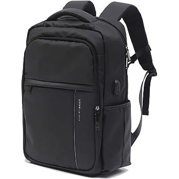 SLOTAM ビジネスリュック メンズ15.6インチ PCバッグ ラップトップUSB充電ポート 盗難防止 防水 耐傷付き 21L ブラック