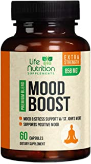 Mood Boost Support for Stress & Anxiety Relief 1100mg - Natural Serotonin Production & Nootropic Dopamine Booster, Focus Supplement Pills w/ 5-HTP & Ashwagandha for Men & Women, Non-GMO - 60 Capsules