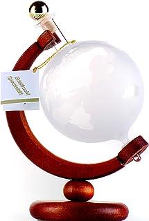 Flasche Weltkugel oder Globus Dekanter auf Holzständer befüllt mit 500 ml Grappa, in Geschenkverpackung. Die handgefertigte Flasche ist befüllt mit 500 ml Grappa. Eine besondere Geschenkidee!
