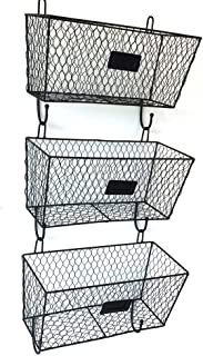 Gijoki 3-Tier Wall Mounted Hanging Wire Baskets Wall Mounted Metal Market Basket Fruit Bread Storage Basket Rack Organizer (Shipped from US)