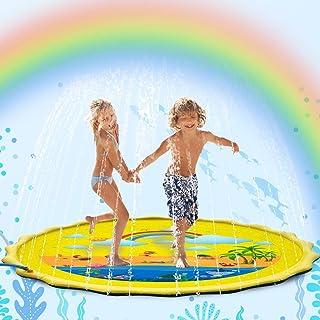 Flybiz Splash Pad, Piscina Infantil, Tapete de Juegos de Agua 170CM Almohadilla Aspersor de Juego Agua, Juguetes Inflables de Agua para Bebés, Niños Pequeños y Niños, Aire Libre Fiesta Playa Jardín
