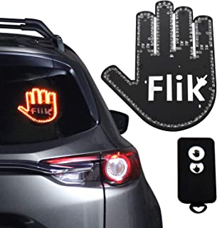 Flik - Hilarious Wave and Middle Finger Light for Your Car, 45ft Remote Range, Automatically Adjust LED Light Brightness, Traffic Law Compliant, Easily Attached to Window, Top Gadget Gifts of 2020