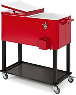 Best Choice Products 80-Quart Steel Outdoor Rolling Cooler Cart w/ Bottle Opener and Catch Tray, Drain Plug, Locking Wheels