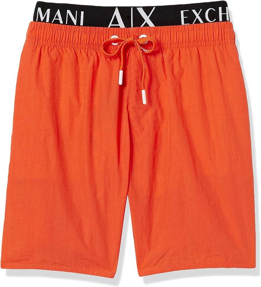 Armani exchange allover & elastic, costume da bagno uomo,100% poliammide 9530200P622