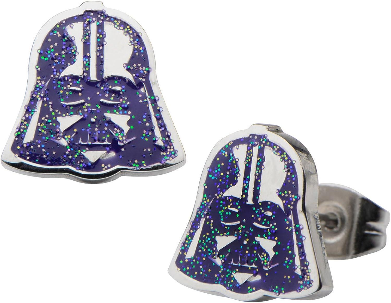 Women's Stainless Steel Star Wars Darth Vader Purple Glitter Enamel Stud Earrings