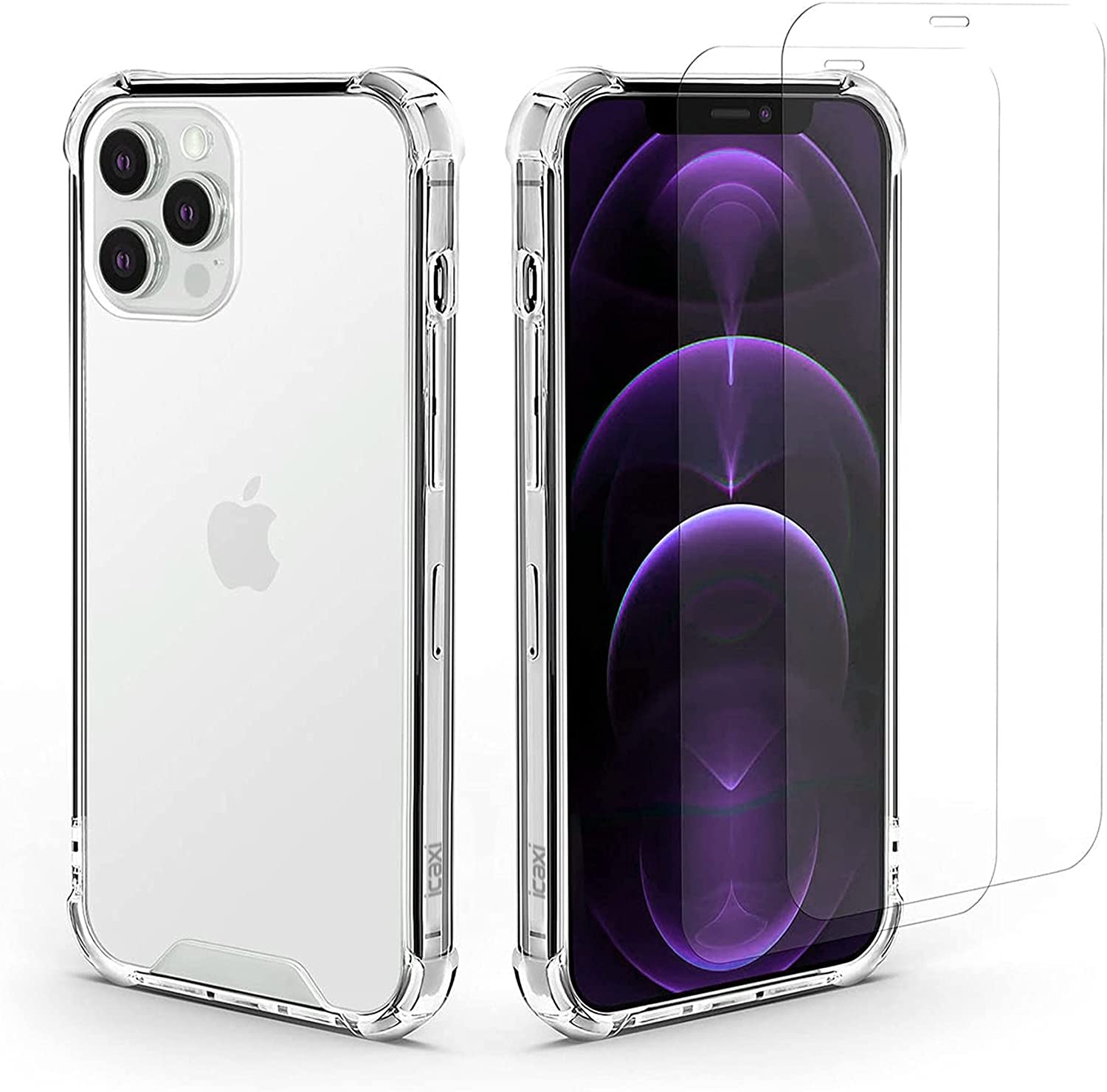 Icaxi - iPhone 12 Pro Case, Durable 12 Pro Case with Screen Protectors and Screen Protection Kit, Clear