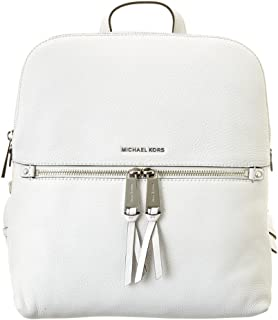 Michael Michael Kors Rhea Slim Leather Backpack, Optic White