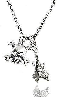 ViMon gioielli, COLLANA argento vero 925,ciondoli pendenti chitarra elettrica, teschio.Stile punk rock. Lunghezza catena s...