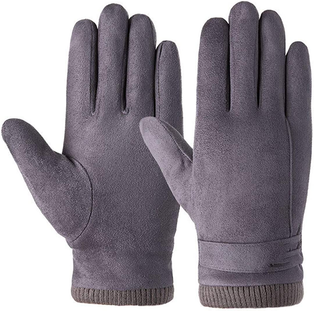 Winter Men Sports Plush Thick Warm Cycling Riding Mittens Elastic Suede Leather Touch Screen Driving Gloves A Gray