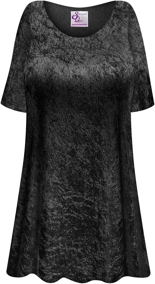 100%品質保証! Black Crush Velvet Plus Size Long Supersize Top A-Line 2020秋冬新作 Extra