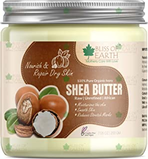 Bliss of Earth® 100% Pure Organic Ivory Shea Butter | Raw | Unrefined | African | 200GM | Great For Face, Skin, Body, Lip...