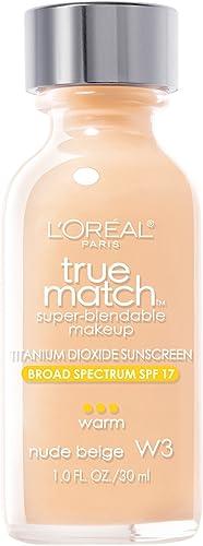 L'Oreal Paris Makeup True Match Super-Blendable Liquid Foundation, Nude Beige W3, 1 Fl Oz,1 Count