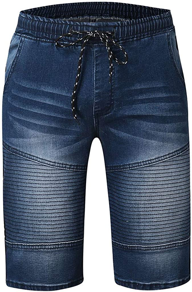 Denim Jeans Forthery Men's Stretchy Shorts Casual Wrinkle Fit Drawstring Destroyed Taped Slim Fit Denim Pants(Blue,S=28)