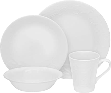 Corelle Embossed Bella Faenza 16-Pc Dinnerware Set White