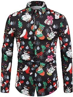 HEFASDM Men's Button T-Shirt Long Sleeve Floral Printed Christmas Woven Shirt