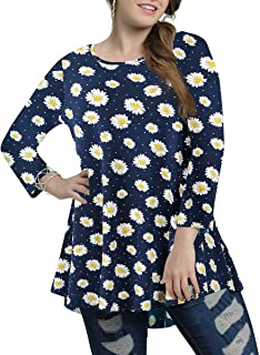 AUPYEO Womens Plus Size 3/4 Sleeve Tunic Tops Swing Loose T-Shirts for Leggings