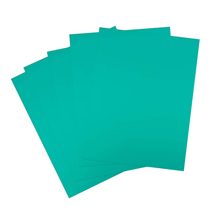 Rozzy Crafts Turquoise Blue Green Heat Transfer Vinyl PU - 5 Sheets Each 10 in x 12 in HTV for Cricut and Silhouette