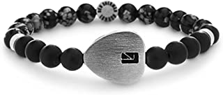 Men's Grey Stone Bead with Stainless Steel Heart Charm Stretch Bracelet