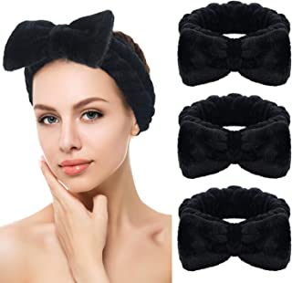 Sinland Spa Headband Bow Hair Band Makeup Headband for Washing Face Shower Mask Black 3Pack