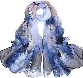 Bullidea Silk Scarf Women's Elegant Long Floral Printing Chiffon Scarf Beach Thin Shawl Wrap Blue
