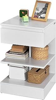 SoBuy® Mesita de Noche con 1 cajón y 2 estantes Consola Mesa Auxiliar para salón ComedorFBT49-WES (Blanco)