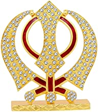 Car Dashboard / Puja /Home Décor Khanda Metal Stone Studded Statue Decorative Showpiece Gift Item Sikh Religious