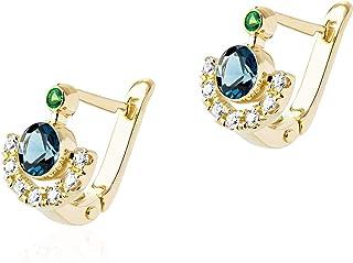 London blue topaz gold earrings