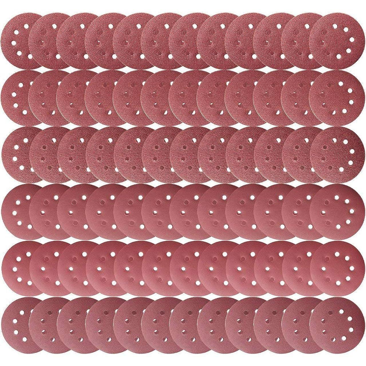 罪人遠征ミュージカルTeenitor サンダーペーパー 125mmφ 72枚 サンディングディスク 電動サンダー用 サンディングパット 木工用 ランダムアクションサンダー用 サンディング 研磨 サンダー用紙やすり #40#60#80#180#240#320