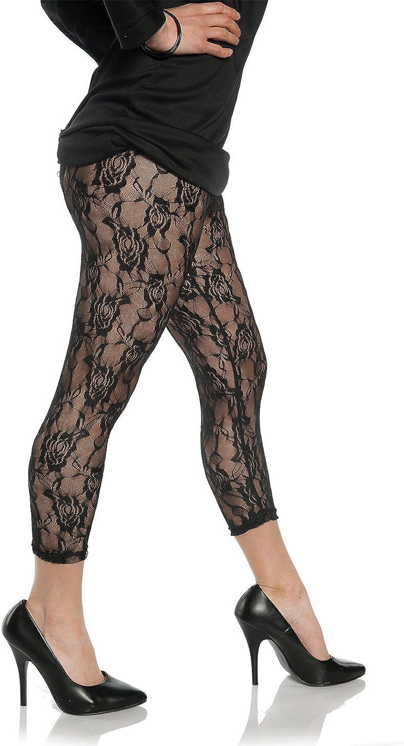 Women's Retro 80's Lace Leggings - Black, Small