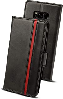 Galaxy S8 ケース 適応 手帳型 ギャラクシーS8 適応 ケース Rssviss サイドマグネット カード収納 横置き機能 PUレザー 財布型 Samsung Galaxy S8に対応 W5 ブラック