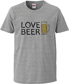 [Chara Park] ビール好き LOVE BEER BIGプリント プリントTシャツ ユニセックス M L セメント グレー 白 オートミール サンドカーキ