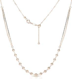 Collar de plata de ley 925 ajustable con cuentas de plata de ley, collar de 3 filas, joyería de plata para mujer