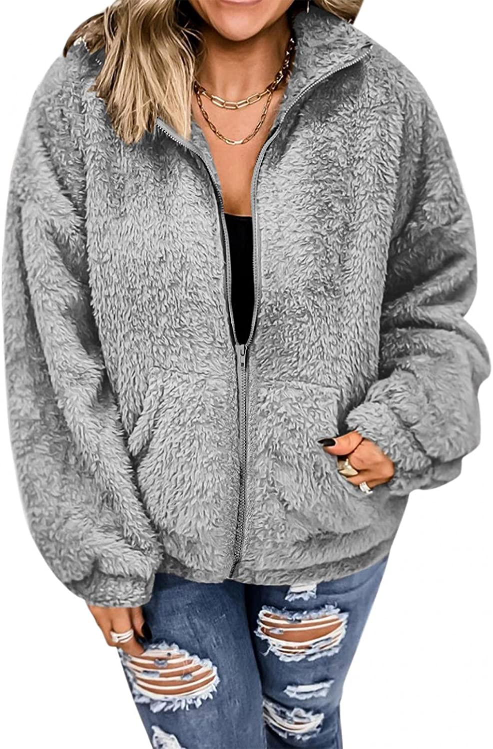 HCNTES Hoodies for Women Fashion Long Sleeve Zip Up Faux Fuzzy Pocket Oversized Jacket Coat for Warm Winter