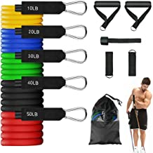 FBSPORT Resistance Bands Set, Exercise Bands Stackable Workout Bands with Handles, Training Tubes with Door Anchor & Ankle Straps for Resistance Training, Physical Therapy, Home Workout, Yoga