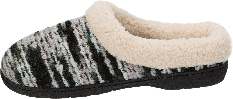 Dearfoams Multi Black Women's Knit Dye Clog Memory Foam Slipper (Large 9-10M)