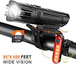 Juego de Luces LED para Bicicleta, 4 Modos Luces Bicicleta Delantera Impermeable y Recargable USB con Lámpara de Bicicleta Delantera y Trasera Protección Antideslumbrante para Carretera IP3X 400LUX