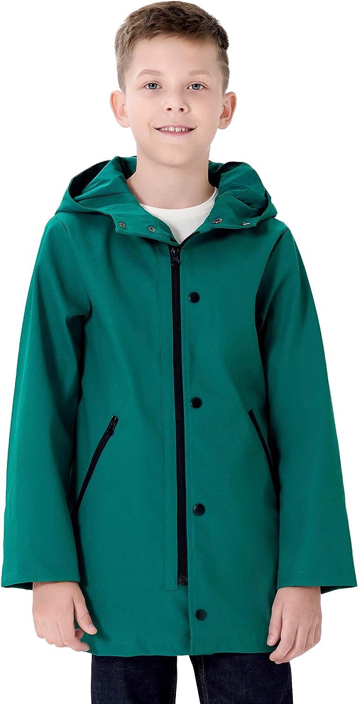 maoo garden Girls Boys Rain Jacket Lightweight Waterproof Raincoat Hooded Cotton Lined Long Windbreaker