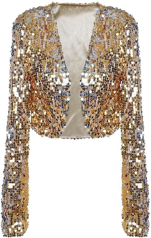 Kayamiya Womens Sequin Jacket Long Sleeve Glitter Cropped Bolero Shrug