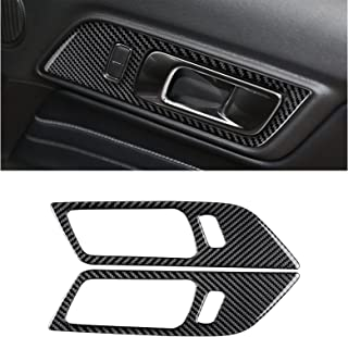 MICOOS Compatible with Carbon Fiber Interior Door Handle Frame Decoration for Ford Mustang 2015 2016 2017 2018 2019 2020 (2Pcs Black)