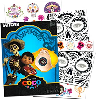 Disney Pixar Coco Tattoos Party Favors Set -- Bundle with 25 Coco Temporary Tattoos and 2 Day of The Dead Face Tattoos (Coco Party Supplies)
