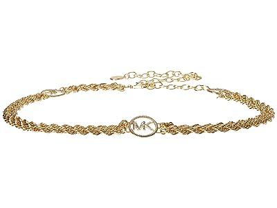 MICHAEL Michael Kors Pave Logo Chain Belt (Gold) Women