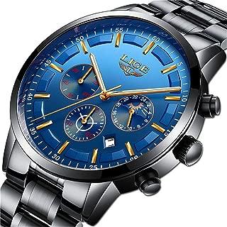 LIGE Men Watch Waterproof Stainless Steel Analog Quartz Watch Men Fashion Dress Business Watch
