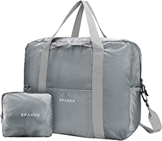 SPAHER Travel Duffle Bag Foldable Packable Lightweight Holdall Waterproof Handbag Shoulder Sling Clothes Packing Organiser Storage Carrying Suitcase for Shopping Gym Sports Camping 40L Grey