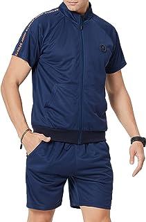 LBL Men's Casual Tracksuit Short Sleeve Jacket and Shorts Running Jogging Athletic Sports Set