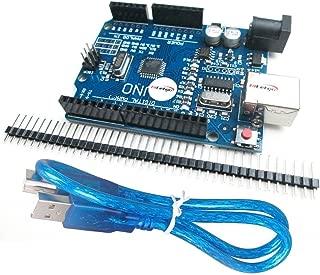 HiLetgo UNO R3 ATmega328P CH340 Development Board Compatible Arduino UNO R3 Arduino IDE Develope Kit Microcontroller with USB Cable Straight Pin Header 2.54mm Pitch Robot Parts