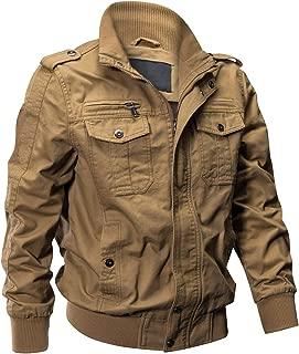 Men's Cotton Lightweight Multi Pockets Zip Front Stand Collar Military Jackets Windbreaker