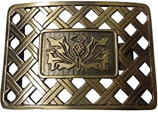 Latice Thistle Design Belt Buckle Antique Finish/Scottish Thistle Latice Kilt Belt Buckle