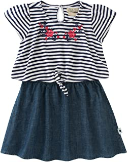 Lucky Brand Girl's Striped Tie Top, Denim Skirt Dress