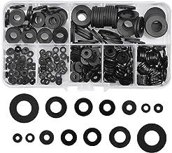 NATUCE 350 STKS Nylon Flat Washers Assortiment Set, 7 Maten Nylon Pakking, Afdichting Pakking, Zwarte Sluitring Seal, Rond...